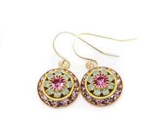 Vintage Crystal Earrings - Swarovski Crystal - Dangle Earrings - Wedding Earrings - Intricate Earrings - Crystal Earrings Bridal