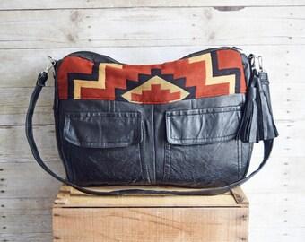 FURROW BAG // leather bag, southwestern bag, black leather bag, laptop bag, recycled leather bag, diaper bag, bohemian bag