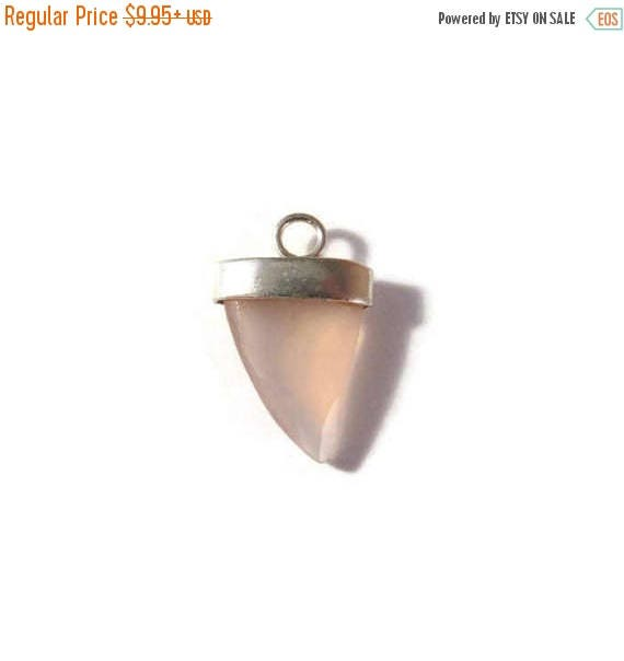 Summer SALEabration - Rose Quartz Charm, Pink Gemstone Point with Silver Plated Bezel, Faceted Double Sided Pendant, Jewelry Supplies, 20mm