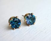 Blue Rainbow Topaz Studs in 14k Gold-Filled Prong Settings