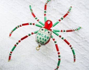 Vintage Christmas Owl Spider Beaded Tree Ornament w/ legend Holiday or Vtg Housewarming Gift