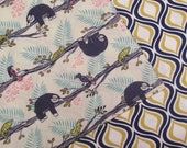 Sleepy Sloths on Branches Reversible Cloth Lunch Napkin Set