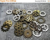 SALE 30% Off Gears Cogs and Sprockets Mixed Matte Metal Finishes Silver Brass Ox Golden 12 Pcs