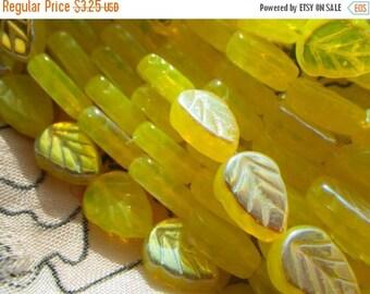 SALE 30% Off Lemon Opal AB Yellow 10x8mm Leaf Beads  25 Pcs
