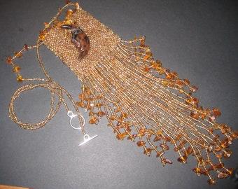 Medicine Bag Necklace, Handbeaded Amulet Bag in Brown
