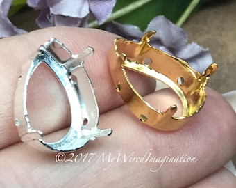 2 pcs Silver or Gold Plated Settings, Fits Pear Shape 4320 Crystals, 18x13mm , Prong Setting, Empty Settings, Nickel Free, Rivoli Setting