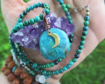 Turquoise and Chrysocolla Choker / Collar - Moon Luna Blue Brass Gold -  Colorful Gypsy Jewelry - Boho Gemstone Festival - Funky Inbloom
