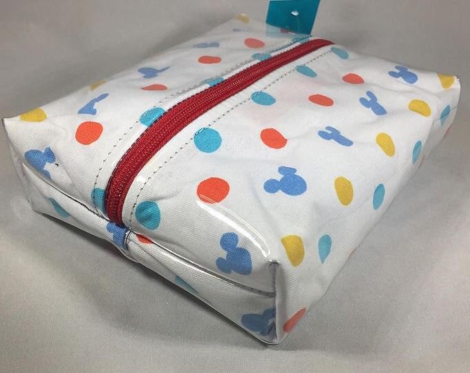 Make Up Bag - Hidden Mickey Polka Dots Box Shaped Cosmetic Bag
