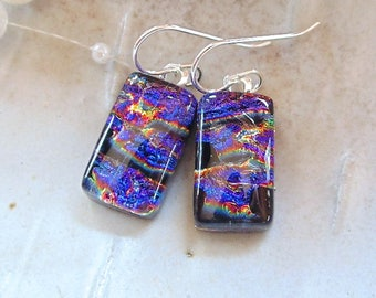 Petite, Purple Earrings, Red, Gold, Dichroic Glass Earrings, Fused Glass Jewelry, Dangle, Sterling Silver, A7