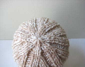 cream tan wool knit cap