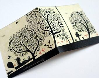 Card, black hearts C158