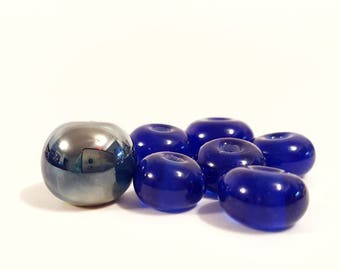 Blue Moon Mini Set Recycled Upcycled Glass Lampwork Beads