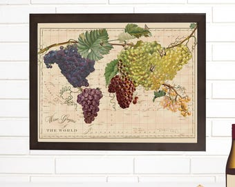 World Wine Map, Vintage Map Art, Wine Grapes of the World, Winery World Map Lithograph