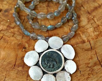 RESERVED LFOR G, Statement Necklace, Ancient Roman coin and Diamond necklace, labradorite strand and authentic ancient coin