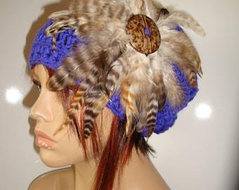 Violetl Cloche Hat with Feathers -Violet  Crochet Hat - Violet Hat - Crochet Cap - Custom colors available