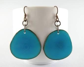 Turquoise Blue Tagua Nut Eco Friendly Yoga Accessories Earrings with Free USA Shipping #taguanut #ecofriendlyjewelry