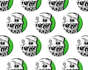 "Creeper Zombie Skull 1"" Pinback Button - Punk Pin Back Button, Lowbrow Art Illustration"