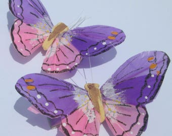 Butterfly Hair Clips Purple and Pink feather butterfly Purple and Pink Butterflies Hair Ornament hand made hair clips by Ziporgiabella