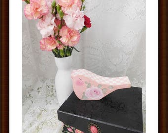 Pink Rose Bird Shelf Sitter, Aqua, Swiss Dots and Shabby Cottage Design and Stately Checked, ECS