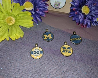 NCAA Michigan Wolverines Charm Pendants - Antique Brass - 1 inch circles
