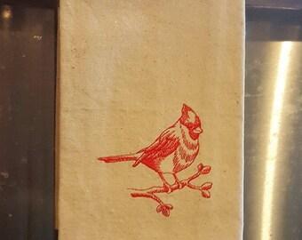 Cardinal Dish Towel, Kitchen Towel, Drop Cloth, Bird Dish Towel, Embroidered Dish Towel, Linens,Housewares, Kitchen & Dining,Home and Living