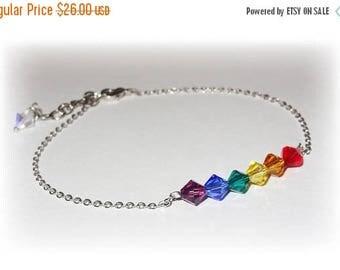 20% OFF Rainbow Beaded Swarovski Crystal Boho Beach Anklet Summer Ankle Bracelet For Women Austrian Crystal LGBT Pride Equality Multi Colore