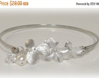 20% OFF Flower Bangle Bracelet Floral Bridesmaids Jewelry Pearl Crystal Bridal Orchid Cuff Pearls Crystals