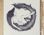 Wolf Girl - Square Print - Illustration