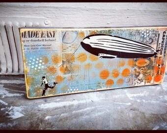 Kite Original Graffiti Art Painting on Wood Panel RePurposed Ply Wood Modern Pop Art Canvas Handmade Art