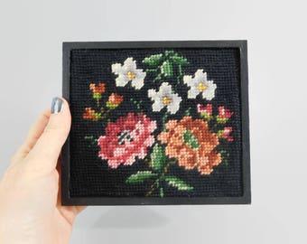 Vintage Framed Needlepoint Flowers - Framed Flowers - Can be a Wall Hanging or a Shelf Sitter - Vintage Home Decor - Floral Fiber Art