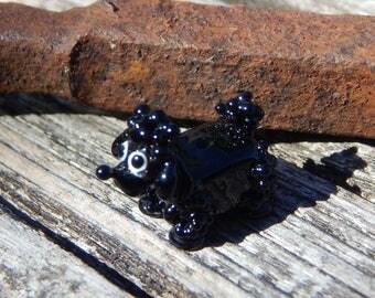 Black Poodle Dog, Lampwork Bead, Simply Lampwork by Nancy Gant, SRA G55