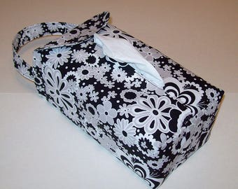 NEW!  Automobile Hanging Tissue Box Cover / Tissue Box Cozy / Automobile Accessory For Your Car / Black White & Gray Parisian Floral