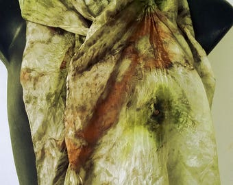 Eco Printed Nuno Felted Silk Scarf Hibiscus and Tea Natural Dyes Eco Friendly Summer Scarf Silk Clothing