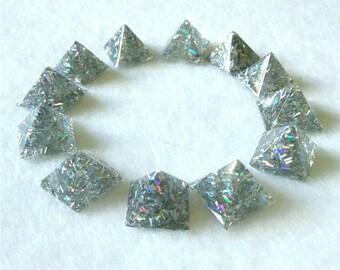 Holographic pyramid studs glue on