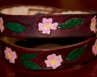 Pink dogwood leather wrap bracelet