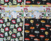3+ Yards MCM Retro Housewife Kitchen Pots Pans Sushi Vintage Woven Cotton Fabrics Miller Henry