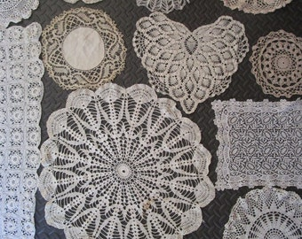 Lot 13 Mixed Crochet Lace Cotton Doilies Vintage Scarf Circle Heart White Ecru