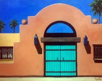 Southwest Adobe Architecture landscape painting