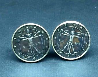 Italy coin cufflinks EURO dollar The Vitruvian Man, by Leonardo da Vinci 23mm