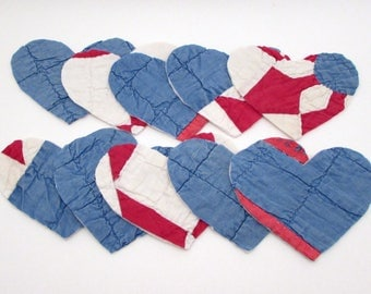 10 Cutter Quilt Hearts - Red White and Blue - Vintage Quilt Heart Shapes - Shabby - Primitive crafting - heart appliques - patriotic