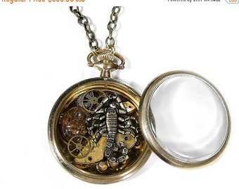 Steampunk Jewelry Necklace Vintage 10K GOLD Pocket Watch SCORPION Watch Parts Gears Wheels Trilobite Shrine Necklace - Jewelry by edmdesigns