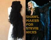 Stevie Nicks Scarf Birthday Gift for Best Friend Female Best Friend Gift Black Scarf Knit by Stevie Nicks Shawl Designer Crickets
