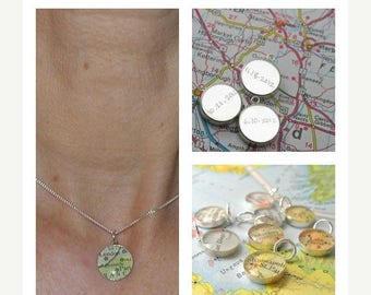 SUMMER SALE Handwritten Engraved Petite Vintage Map Sterling Silver 16 inch Necklace.  You Select Journey.