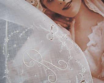 Monogram Wedding Hankie R, Letter R vintage hankie, Vintage Bridal Hankie R, Initial white hankie R