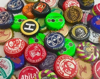 50 used beer bottle caps assorted for crafting jewelry projects craft supply bulk lot