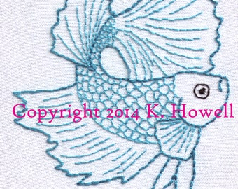 Betta Fish Hand Embroidery Pattern, Betta Minor, Smaller, Siamese Fighting Fish, PDF