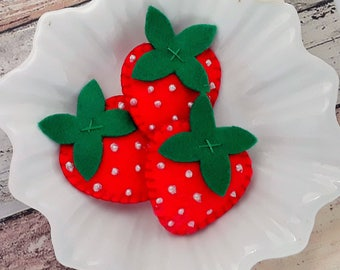 Hair clips or hair ties Red felt strawberry hair clip,Red strawberry barrette, strawberry bobbles,strawberry hair ties, pigtails