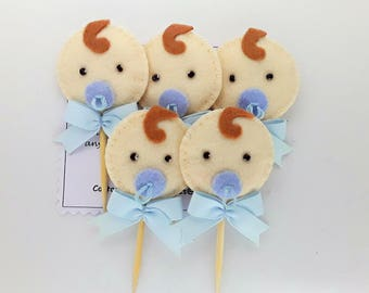 Baby Shower,Baby Boy Padded felt cupcake toppers FREE UK POSTAGE