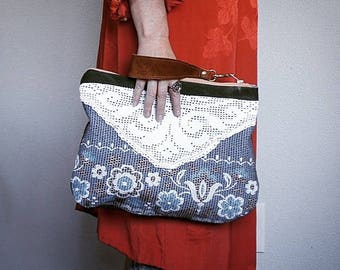 NEW///Vintage Floral Textile, White Crochet, and Military CanvasWristlet//Pouch//Reversible