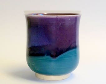 Purple and Teal Juice Glass - Wheel Thrown Pottery - 8 Ounce Cup - Handmade by Jolene